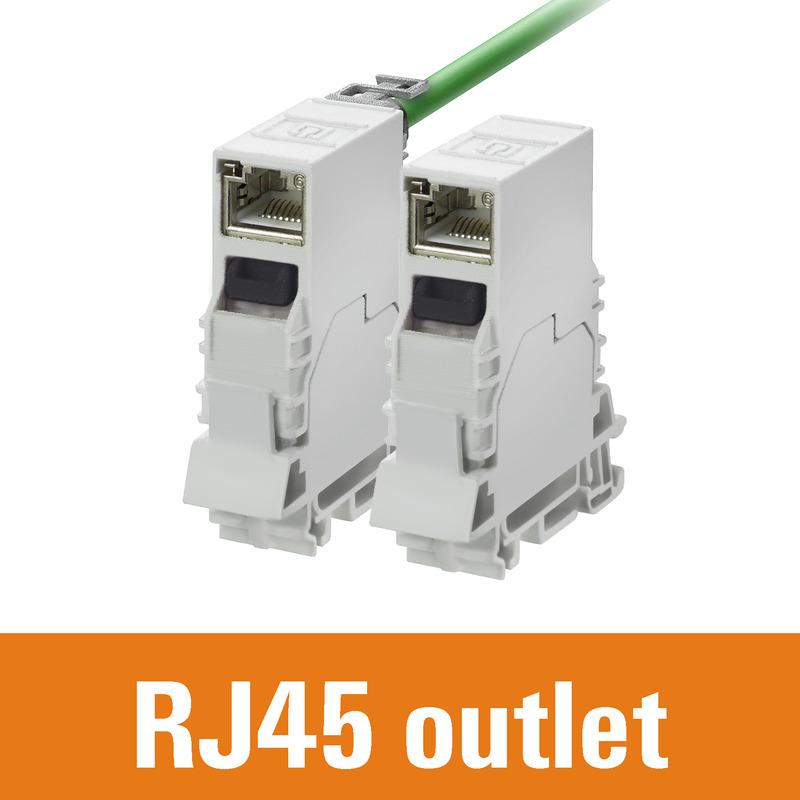 Tragschienenoutlet RJ45