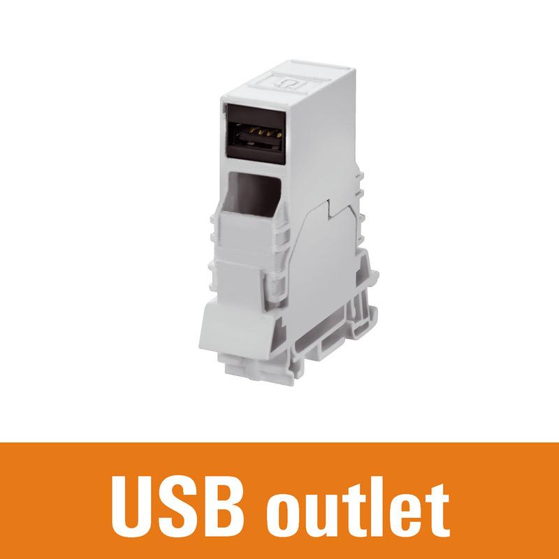 Tragschienenoutlet USB
