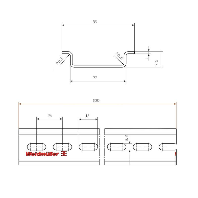 TS 35X7.5/LL/6 2M/ST/ZN