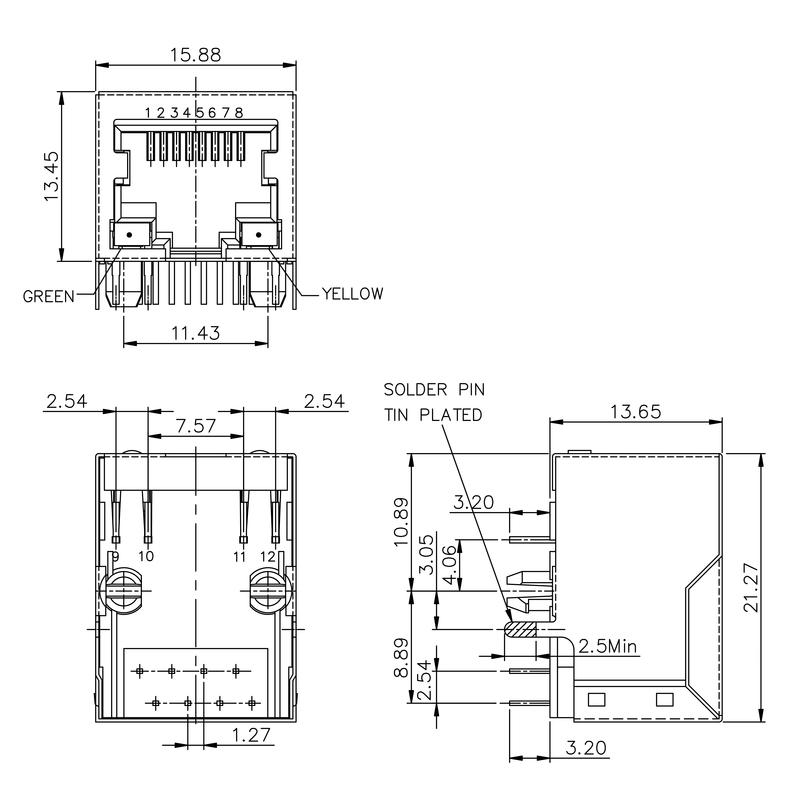 RJ45C5E R1D 3.2N4G/Y TY